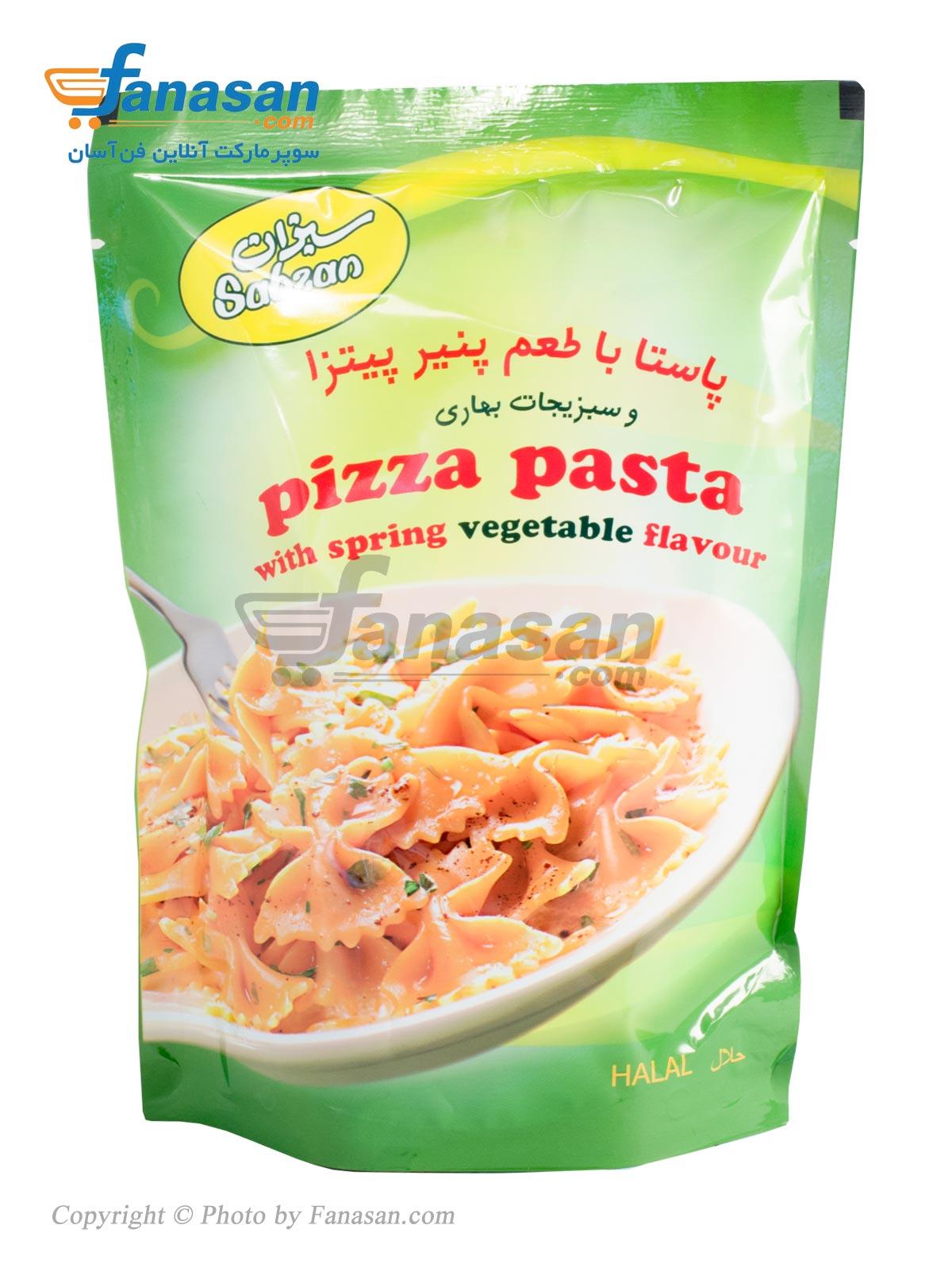 پاستا نیمه آماده سبزان با طعم پنیر پیتزا و سبزیجات بهاری 180 گرم