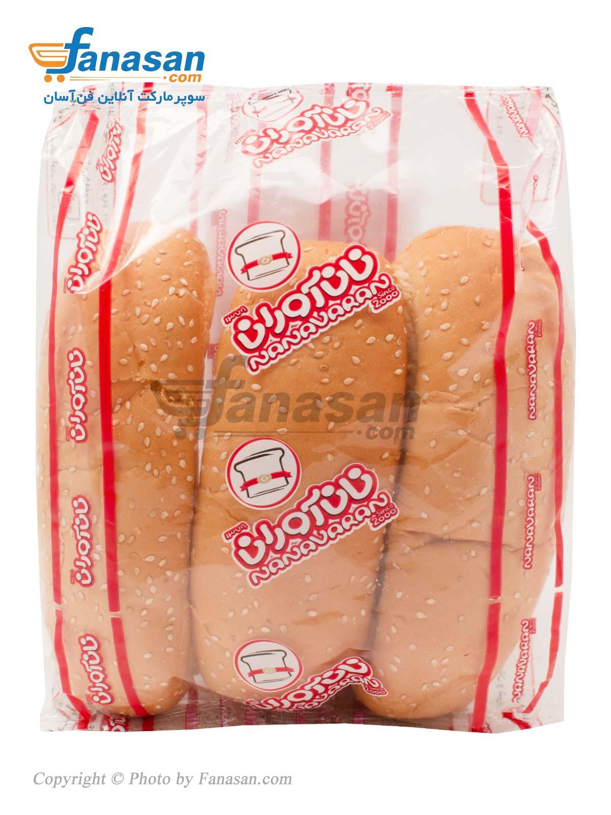 نان حجیم نان آوران با تزیین کنجد هات داگ 3 عددی 200 گرم