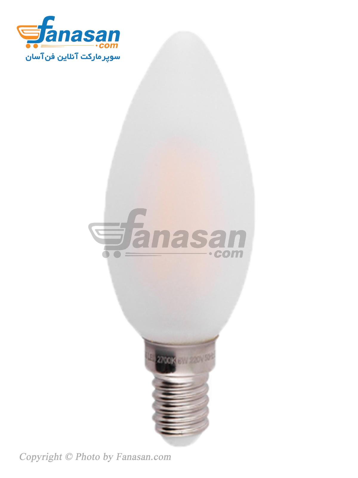 لامپ فیلامنتی آفتابی شعاع سرپیچ پایه E14 مات 6 وات