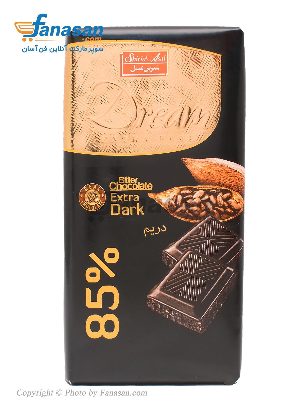 تابلت شکلات تلخ 85 درصد شیرین عسل 100 گرم