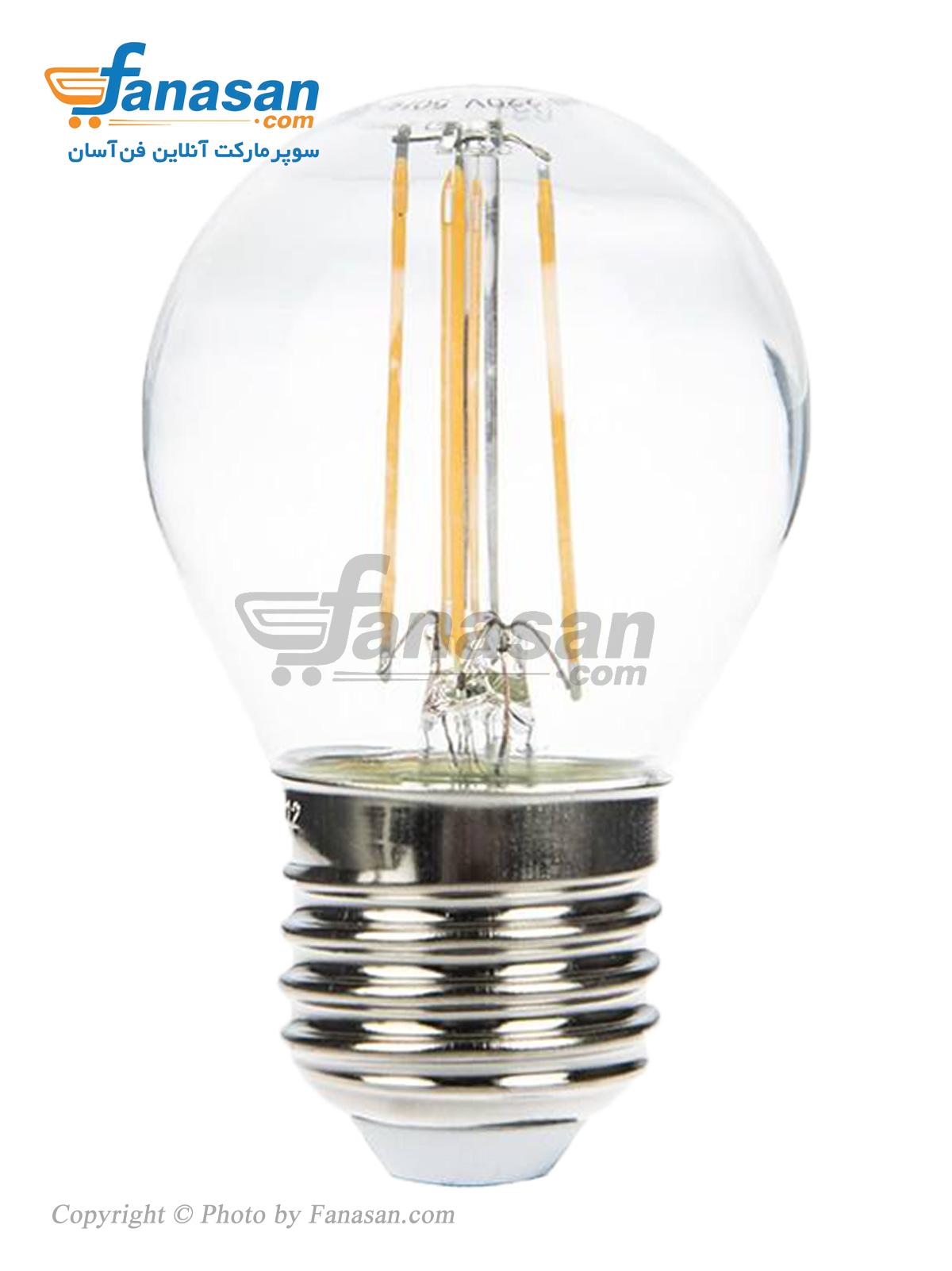لامپ فیلامنتی آفتابی شعاع سرپیچ پایه E27 شفاف 4 وات