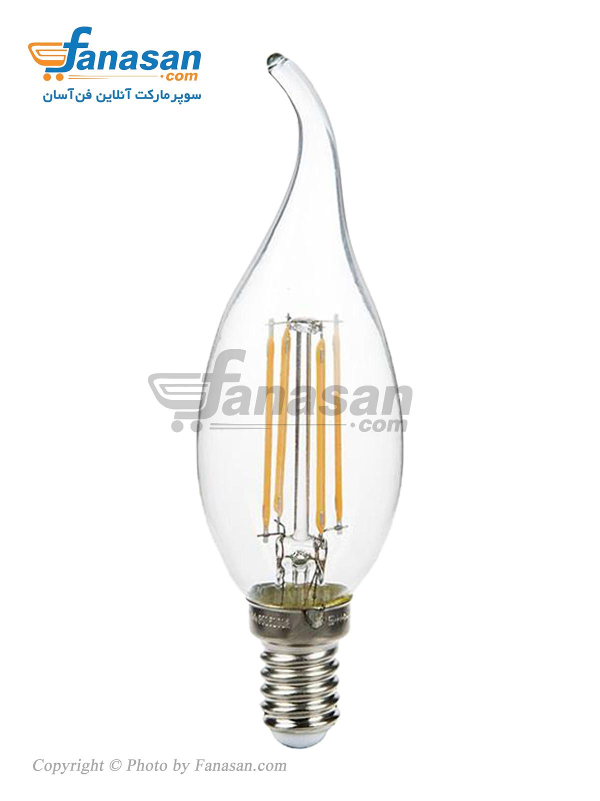 لامپ فیلامنتی آفتابی شعاع شمعی اشکی پایه E14 شفاف 4 وات