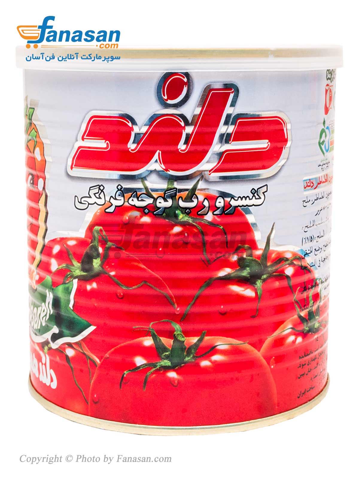 کنسرو رب گوجه فرنگی دلند با درب آسان بازشو 800 گرم