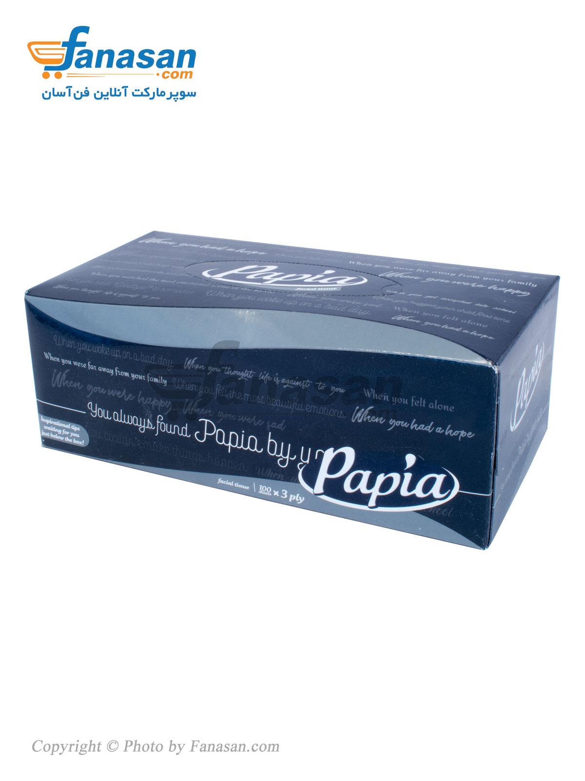 دستمال کاغذی پاپیا 100 برگ سه لایه در چند طرح مختلف