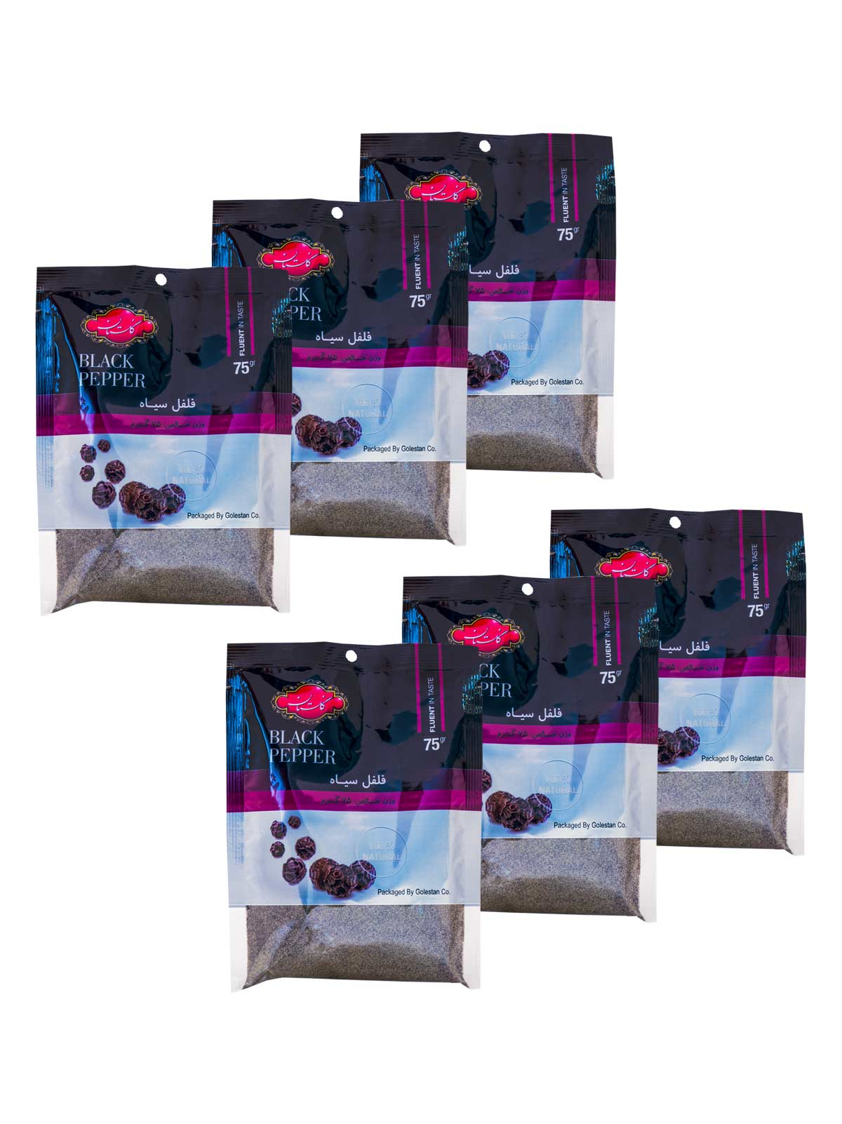 بسته 6 عددی فلفل سیاه گلستان سلفونی 75 گرم