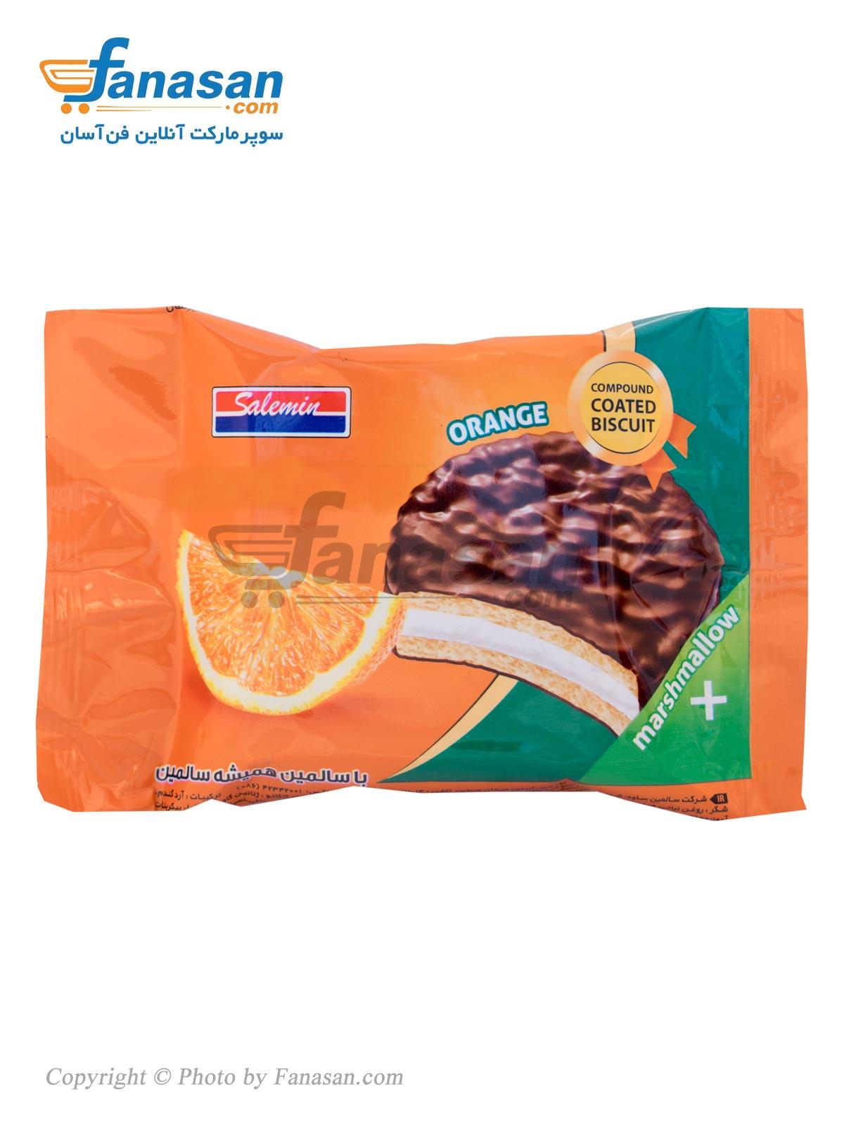 بیسکویت والس سالمین با روکش کاکائویی با طعم پرتقال 25 گرم