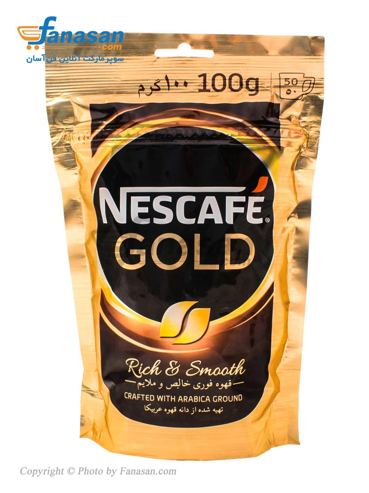 قهوه فوری نسکافه خالص و ملایم مدل گلد سلفونی 100 گرم