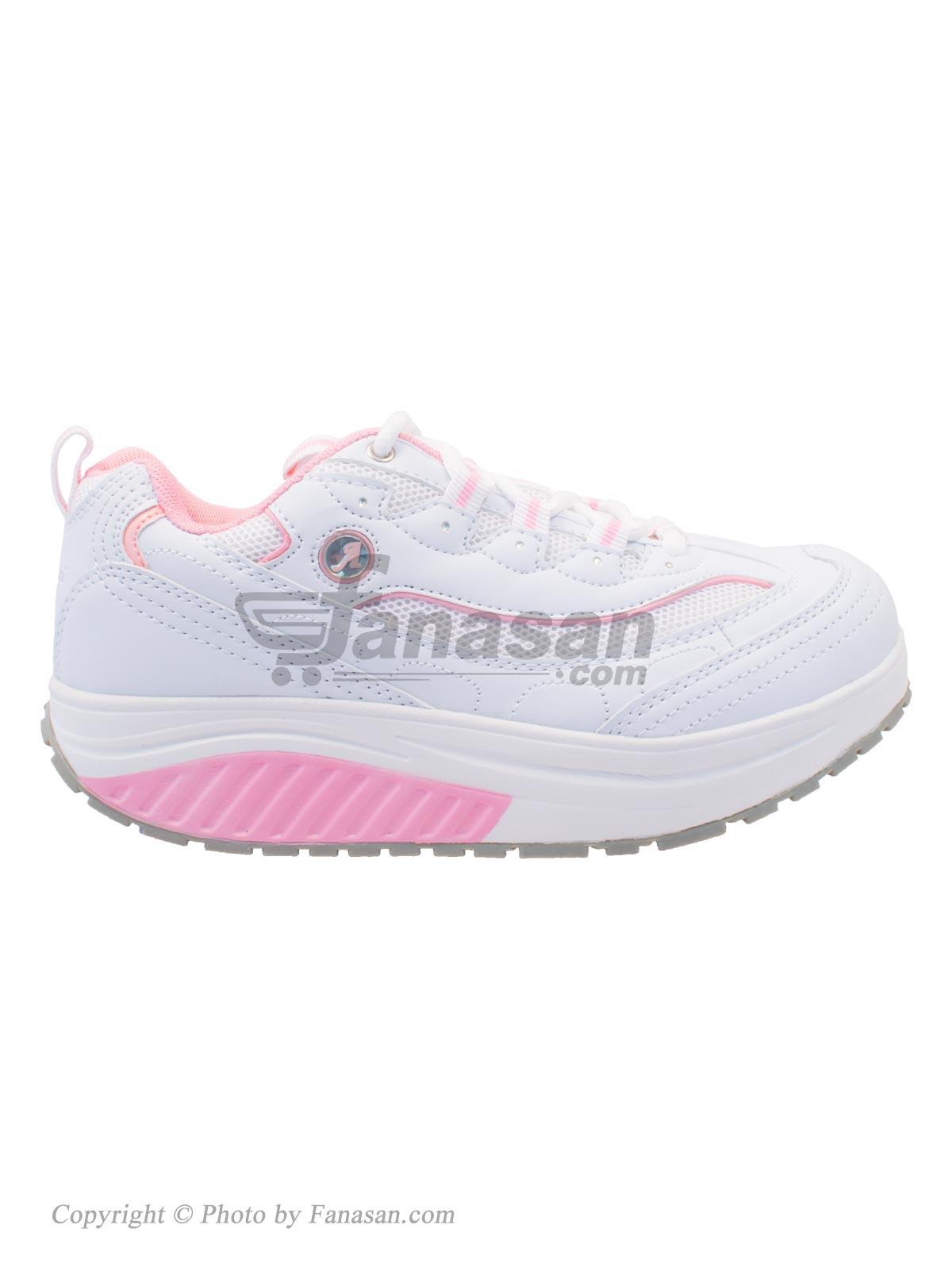 کفش زنانه آلبرتینی نهرین مخصوص پیاده روی مدل پرفکت سفید صورتی سایز 36