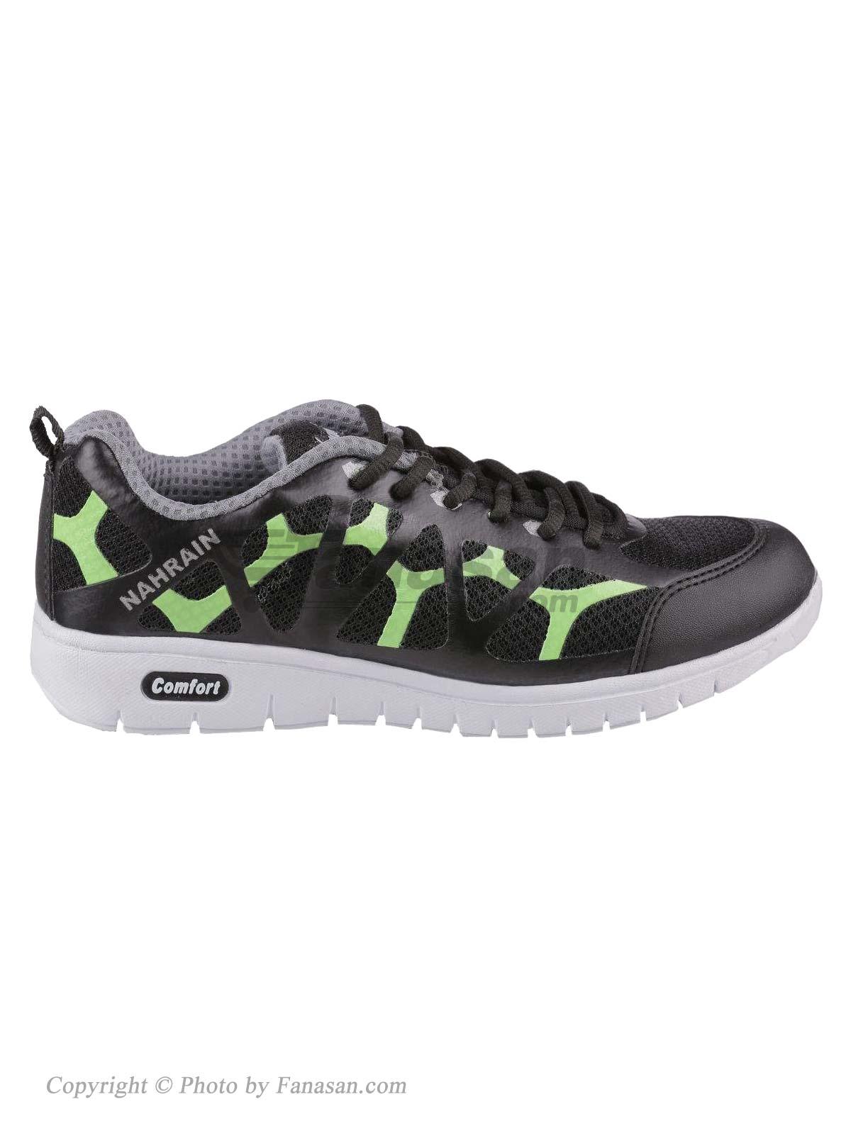 کفش زنانه نهرین مدل گارنیک مشکی سبز فسفوری سایز 40