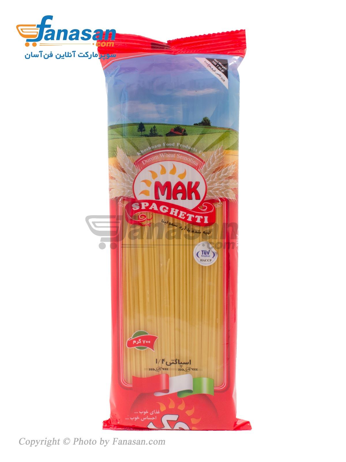 اسپاگتی مک 1/4 رشته ای با آرد سمولینا 700 گرم
