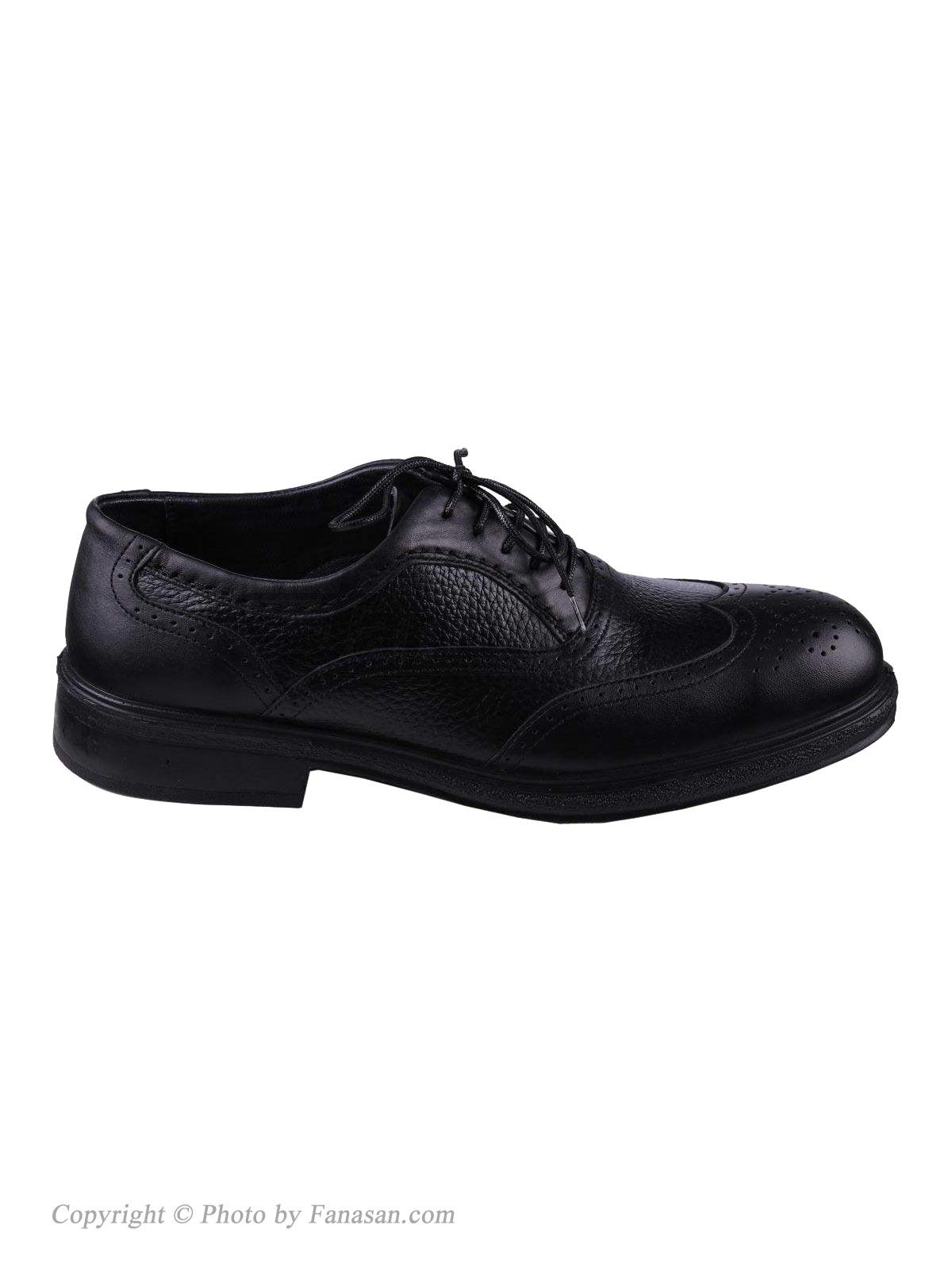 کفش چرم مردانه نهرین طرح هشت ترک مشکی سایز 41
