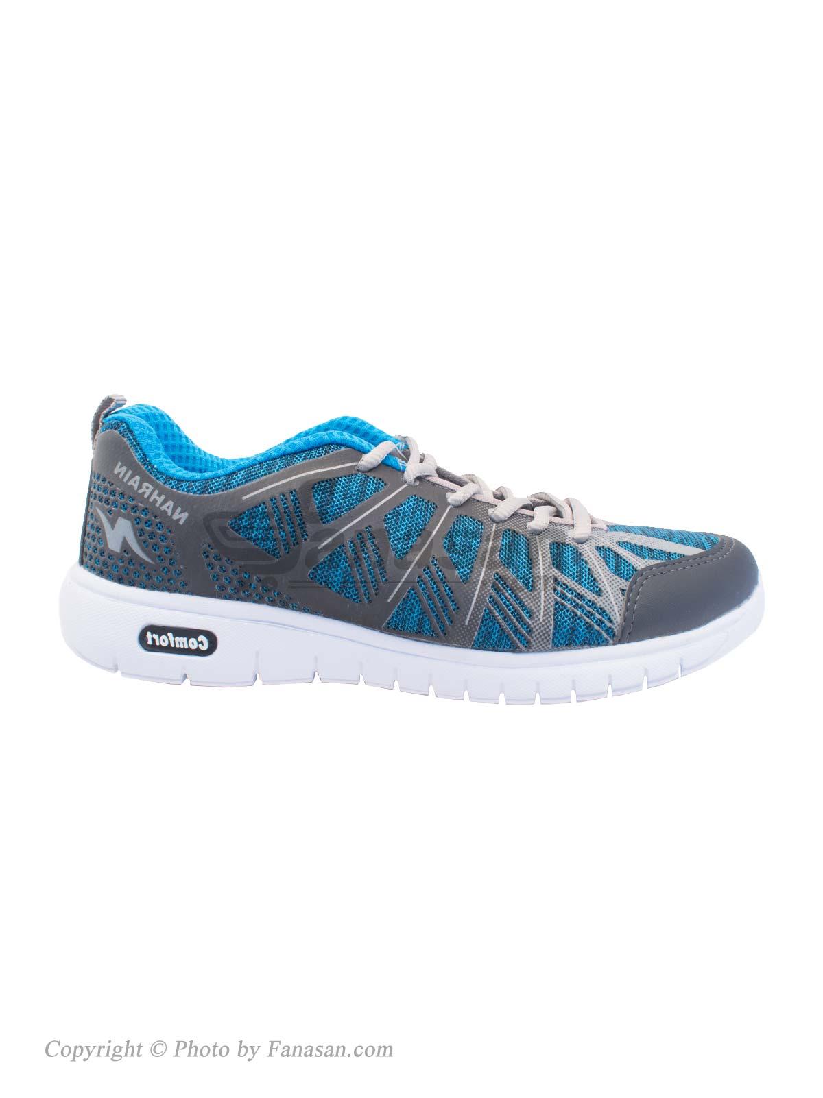 کفش زنانه نهرین مخصوص دویدن و پیاده روی مدل هما آبی طوسی سایز 40